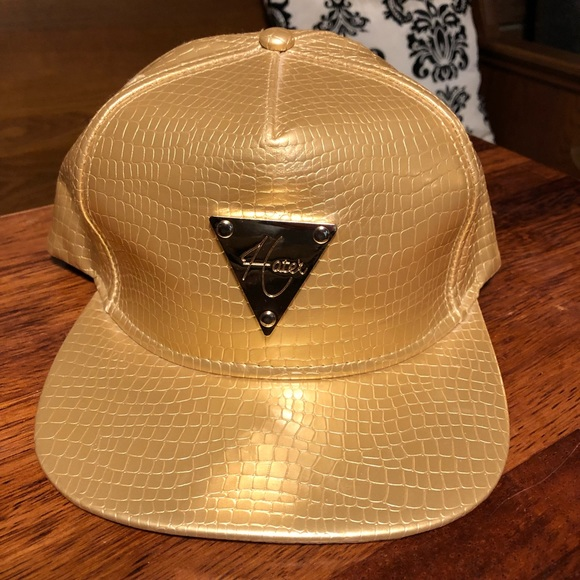 Rare 💯 Leather Gold Hater Hat Snap Back